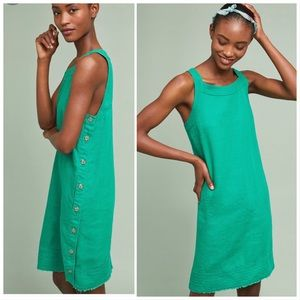 Anthro Maeve bar harbor dress in green side button